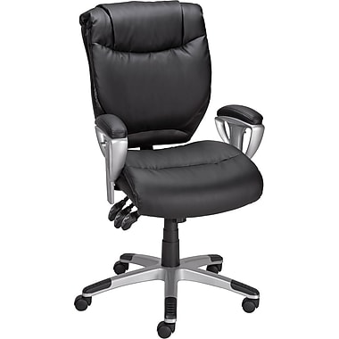 Staples® Montverde Leather Petite Task Chair, Black