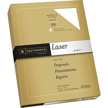 SOUTHWORTH® Premium Laser Paper, 8 1/2in. x 11in., 32 lb., Smooth Finish, Wicked White 97, 300/Box