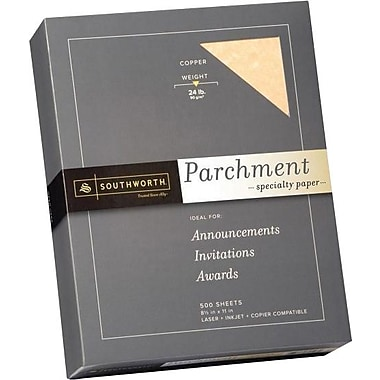 SOUTHWORTH® Parchment Specialty Paper, 8 1/2in. x 11in., 24 lb., Parchment Finish, Copper, 500/Box