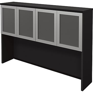 Bestar Pro Concept Collection Hutch with Glass Doors, Black