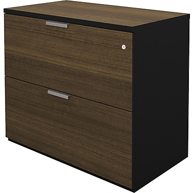 Bestar Pro Concept Collection Assembled Lateral File, Milk Chocolate & Black