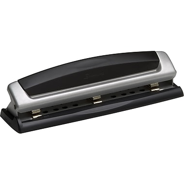 Swingline® Precision Pro® Desktop 2- and 3-Hole Punch, 10 Sheets/20 lb., Black/Silver