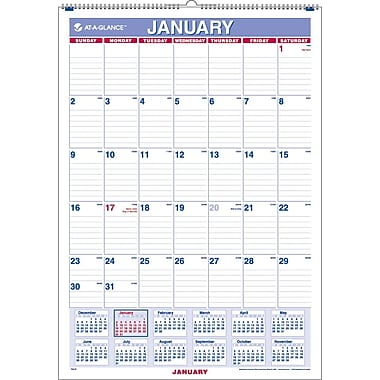 2013 AT-A-GLANCE® Recycled Monthly Wall Calendar, 12in. x 17in.