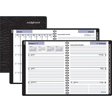 "2014 DayMinder® Executive Weekly/Monthly Planner, 6 7/8"" x 8 3/4"", Black"