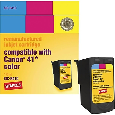 Staples® Remanufactured Tri-Color Ink Cartridge Compatible with Canon® CL-41