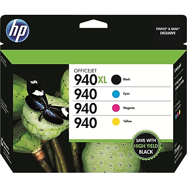 HP 940XL/940 High Yield Black and Standard Color Ink (CZ143FN#140), Combo 4 Pack