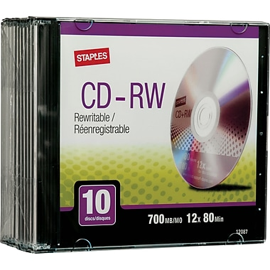 Staples® CD-RW 12x 700MB/80min, Slim Jewel Cases, 10-Pack