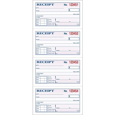 Adams Carbonless Money/Rent Receipt Books, 5-1/4in. x 11in., 2 Part
