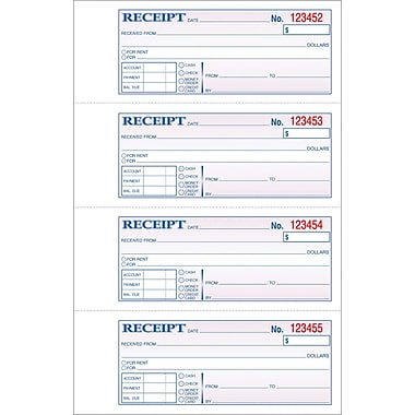 Adams Carbonless General Purpose Receipt Books, 11in. x 7-3/8in., 2 Part