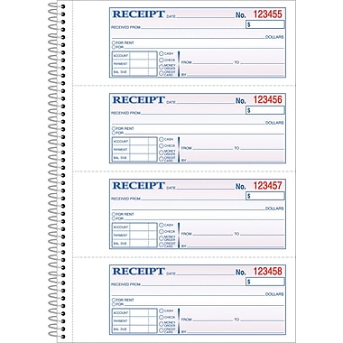 Adams Carbonless Money/Rent Receipt Books, 7-5/8in. x 11in., 2 Part