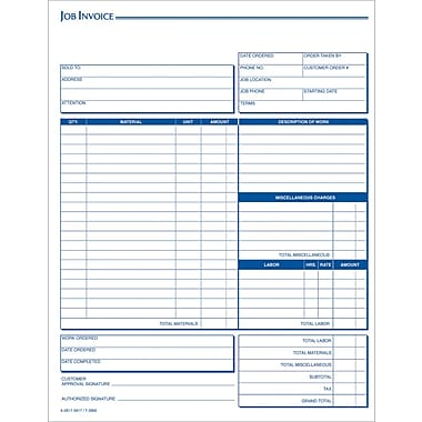 Adams® Carbonless Job Invoice Forms, 8-1/2in. x 11in., 3 Part