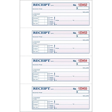 Adams Carbonless Money/Rent Receipt Books, 7-5/8in. x 11in., 3 Part