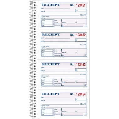 Adams Carbonless Money/Rent Receipt Books, Spiral Bound, 5-1/4in. x 11in., 2 Part
