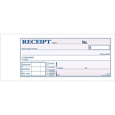 Adams Carbonless Money/Rent Receipt Books, 2-3/4in. x 7-3/16in., 3 Part