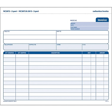 Adams Carbonless Invoices, 8-1/2in. x 7-7/16in., 2 Part