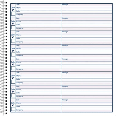 Adams® Voice Mail Log Book, 7 1/2