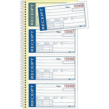 Adams Write & Stick Receipt Book, 5-1/4in. x 11in., 2 Part