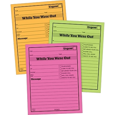 Adams® in.While You Were Outin. Message Pads, Assorted Neon Colors, 6/Pack