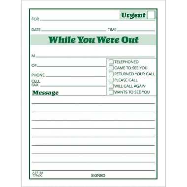Adams in.While You Were Outin. Recycled Message Pads, White, 12/Pack