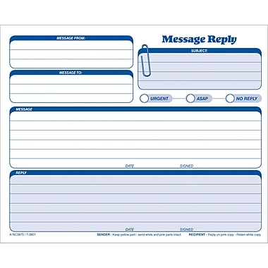 Adams® Message Reply, 8-1/2in. x 7-1/2in.