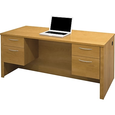 Bestar Embassy Collection Executive Double Pedestal Desk, Cappuccino Cherry