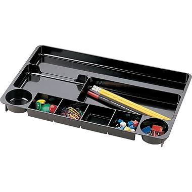 Officemate® Drawer Organizer Tray, 9 Compartments, Black, 14