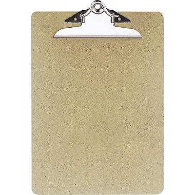 OIC Hardboard Clipboard, Letter, Natural Brown, 9in. x 12 1/2in.