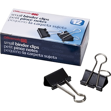 OIC Small Binder Clips, Black and Silver, 3/4