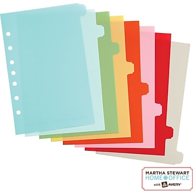 Martha Stewart Home Office™ with Avery™ Small-Format Plastic Dividers Assorted, Classic,5-1/2in. x 8in.