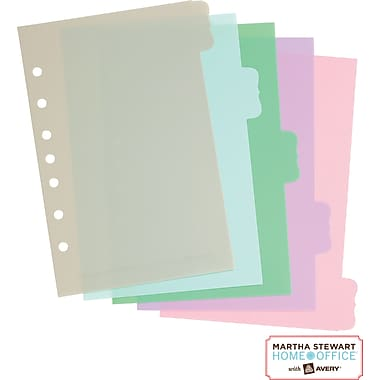 Martha Stewart Home Office™ with Avery™ Small-Format Plastic Dividers Assorted, Flourish 5-1/2in. x 8in.