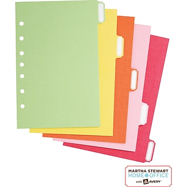 Martha Stewart Home Office™ with Avery™ Small-Format Paper Dividers Assorted, Classic,5-1/2in. x 8-1/2