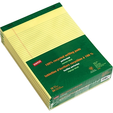 Staples® 100% Recycled 8-1/2in. x 11 3/4in., Canary, Perforated Notepads, Narrow Ruled, 12/Pack
