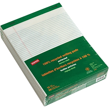 Staples® 100% Recycled 8 1/2in. x 11 3/4in., White, Perforated Notepads, Narrow Ruled, 12/Pack