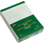"Staples 100% Recycled Perforated Notepads, White, 8 1/2"" x 11 3/4"", Narrow Ruled, 12/Pack (21675)"
