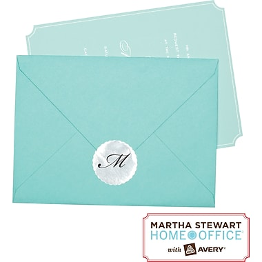 Martha Stewart Home Office™ with Avery™ Silver Mailing Seals, Scallop, 1-5/8in., 36/Pack