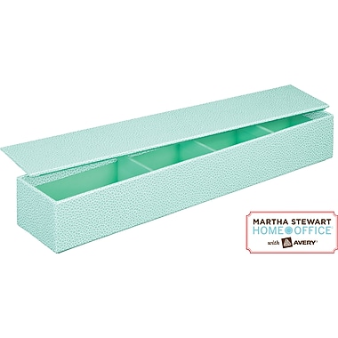 Martha Stewart Home Office™ with Avery™ Stack+Fit™ Shagreen Small Item Holder with Lid, Blue
