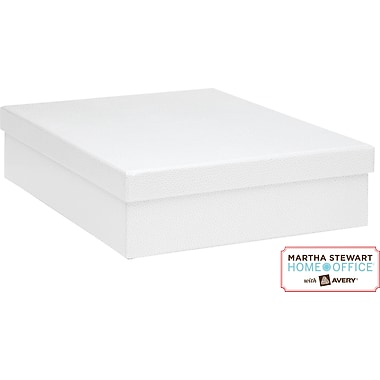 Martha Stewart Home Office™ with Avery™ Stack+Fit™ Shagreen Document Storage Box, White