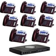 XBLUE X16 6-Line Small Office Telephone System, 8pk - Red Mahogany