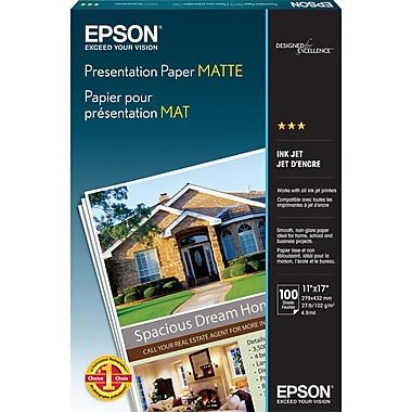 Epson® Presentation Paper, Matte, 11in. x 17in., 100/Pack