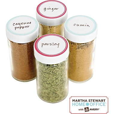 Martha Stewart Home Office™ with Avery™ Kitchen Labels, Red Border, Round, 1-5/8in., 36/Pack