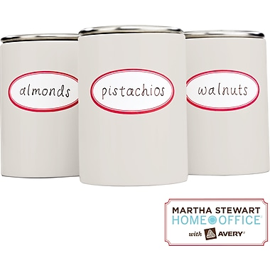 Martha Stewart Home Office™ with Avery™ Kitchen Labels, Red Border, Oval, 1-5/8in. x 3-1/2in., 18/Pack