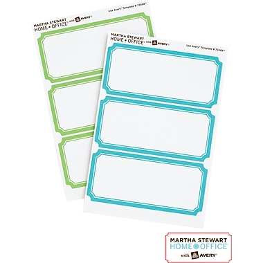 Martha Stewart Home Office™ with Avery™ Removable Labels, Blue/Green Borders, Classic, 18/Pack