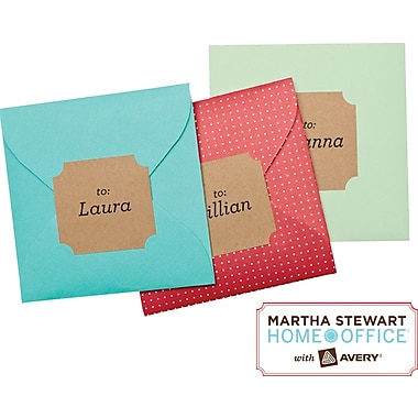 Martha Stewart Home Office™ with Avery™ Brown Kraft Labels  Classic, 1-5/8in. x 1-3/4in., 36/Pack