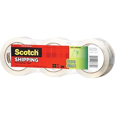 Scotch® High Performance Sure Start™  Hot Melt Packaging Tape, Clear, 1.88in. x 43.7 yds, 3/Pack
