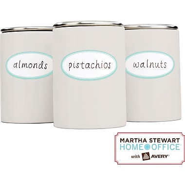 Martha Stewart Home Office™ with Avery™ Kitchen Labels, Blue Border, Oval, 1-5/8in. x 3-1/2in., 18/Pack