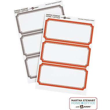 Martha Stewart Home Office™ with Avery™ Classic Labels, Orange/Gray Border, 1-5/8in. x 3-3/4in., 18/Pack