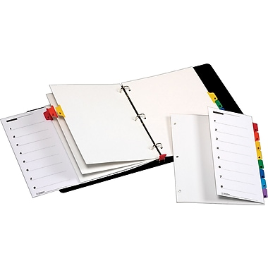 Cardinal® OneStep® Fold-Out Printable Table of Contents and Dividers, 8-Tab, 1 set/pack, Multi-Color