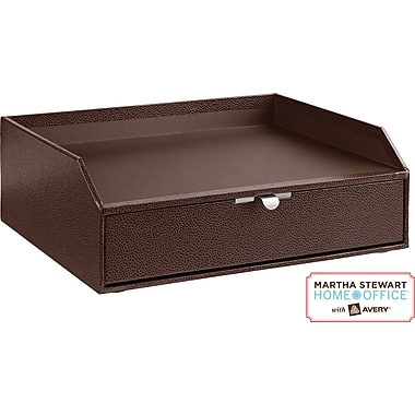 Martha Stewart Home Office™ with Avery™ Stack+Fit™ Shagreen Drawer With Inbox, Brown