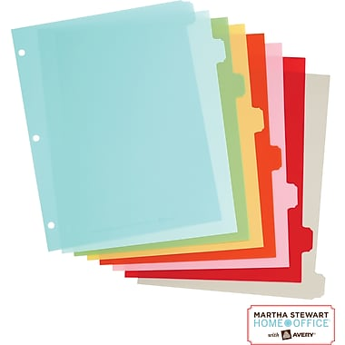 Martha Stewart Home Office™ with Avery™ Plastic Dividers, Assorted, Classic, 8-Tab