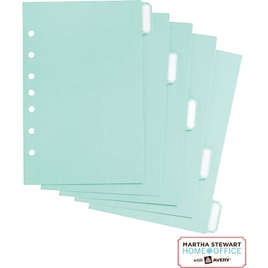 Martha Stewart Home Office™ with Avery™ Small-Format Paper Dividers , Blue, 5-1/2in. x 8-1/2in.